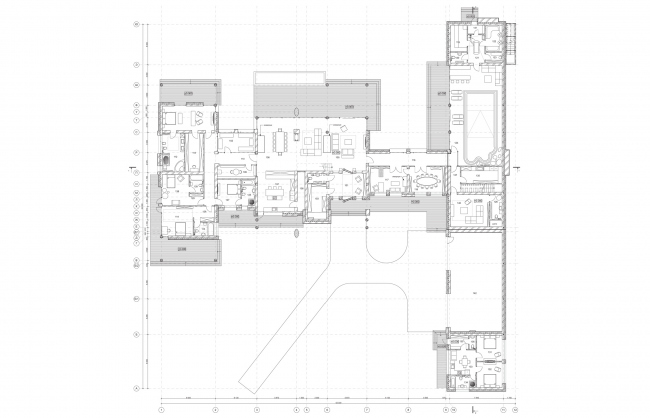 Plan of the first fllor. Wing-house in the Moscow area. Architect: Roman Leonidov © Studio of Roman Leonidov