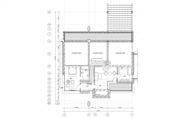 Plan of the second floor. Wing-house in the Moscow area. Architect: Roman Leonidov © Studio of Roman Leonidov
