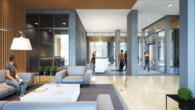 Interior of the main lobby of the complex © APEX project bureau