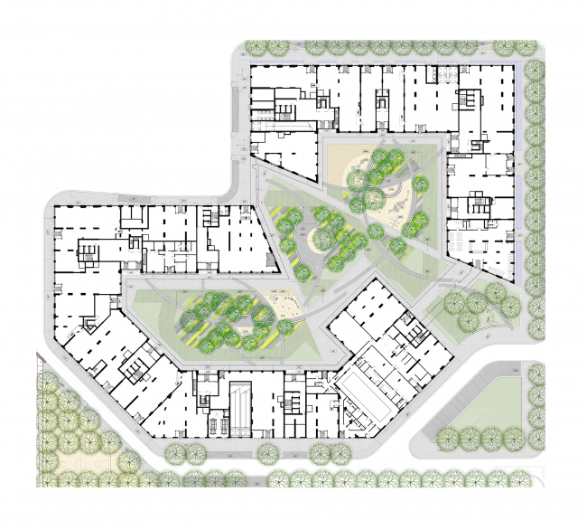 """""""Vander Park"""" housing complex. Superimposed master plan © APEX project bureau, West 8"""