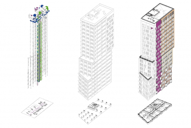 Схемы инженерного, конструктивного и архитектурного решения здания © Проектное бюро АПЕКС