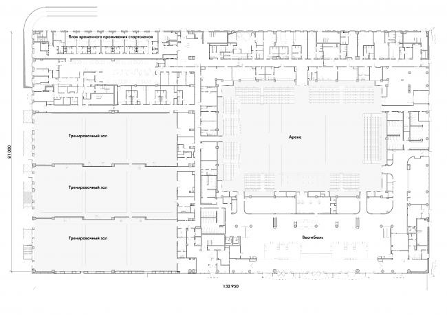 Центр художественной гимнастики имени Ирины Винер-Усмановой в Лужниках. План 1 этажа © ООО «ТПО Прайд»