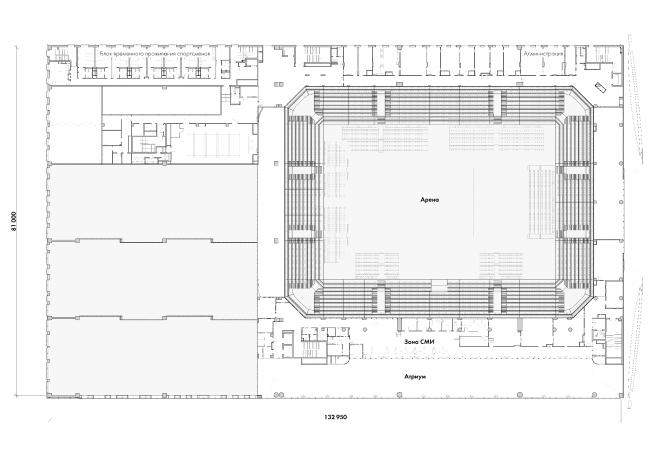 Центр художественной гимнастики имени Ирины Винер-Усмановой в Лужниках. План 3 этажа © ООО «ТПО Прайд»