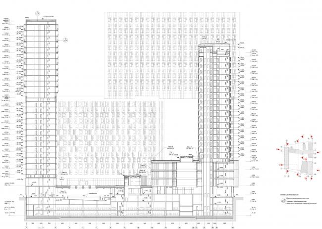 Жилой комплекс «Кандинский Баухаус» в районе Шелепихинской набережной. Разрез 2-2 © UNK project