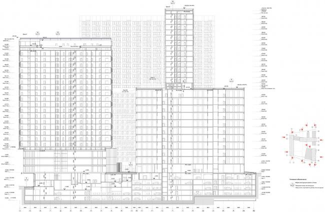 Жилой комплекс «Кандинский Баухаус» в районе Шелепихинской набережной. Разрез 4-4 © UNK project
