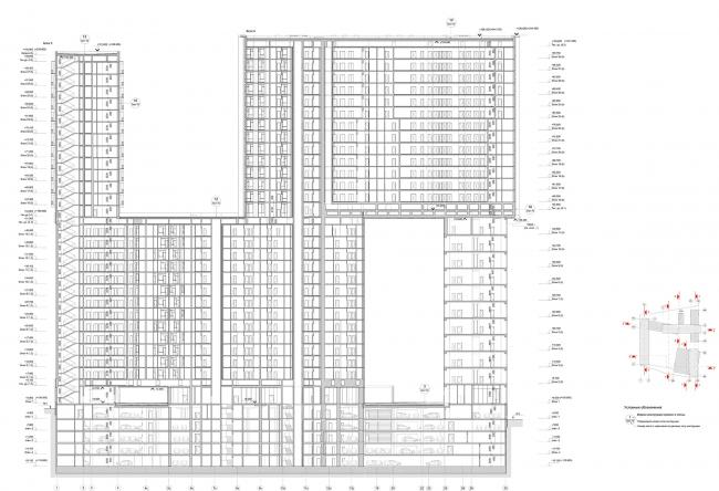 Жилой комплекс «Кандинский Баухаус» в районе Шелепихинской набережной. Разрез 5-5 © UNK project