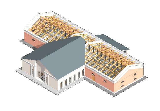 Проект реконструкции Манежа в Звенигороде © Архитектурное бюро «Народный архитектор»