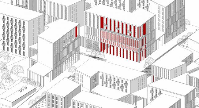 «15°». Конкурсный проект «Жилой комплекс «Красная площадь». Аксонометрическое изображение © Творческая группа «Маяк»