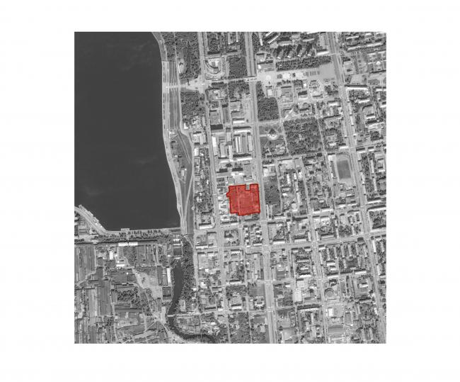 «15°». Конкурсный проект «Жилой комплекс «Красная площадь». Ситуационная схема проектируемого участка © Творческая группа «Маяк»