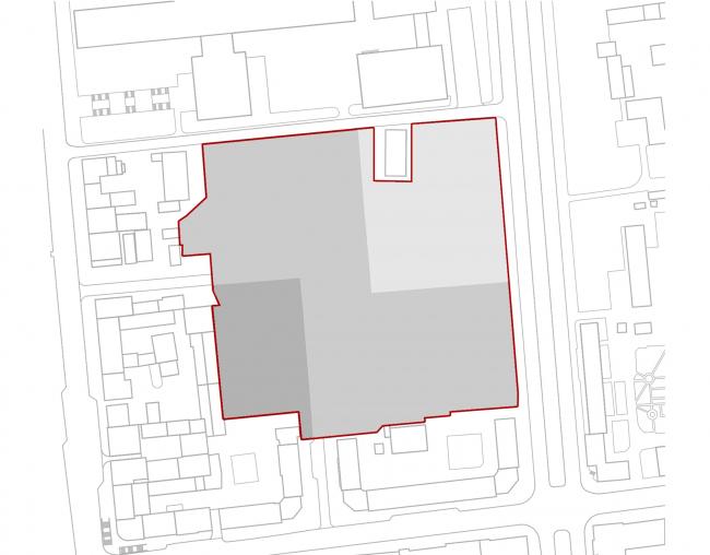 «15°». Конкурсный проект «Жилой комплекс «Красная площадь». Схема 2. Наложение рельефа © Творческая группа «Маяк»