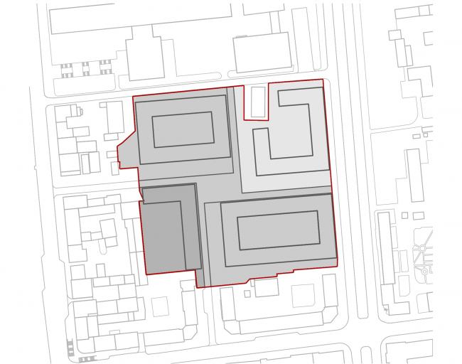 «15°». Конкурсный проект «Жилой комплекс «Красная площадь». Схема 4. Образование замкнутых кварталов © Творческая группа «Маяк»