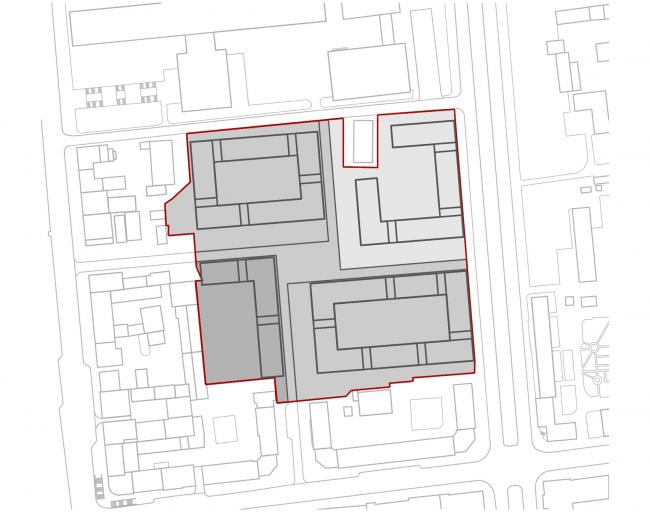 «15°». Конкурсный проект «Жилой комплекс «Красная площадь». Схема 5. Деление объемов кварталов © Творческая группа «Маяк»