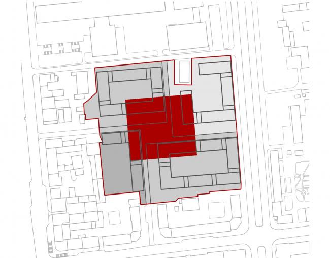 «15°». Конкурсный проект «Жилой комплекс «Красная площадь». Схема 6. Образование площади в центре © Творческая группа «Маяк»