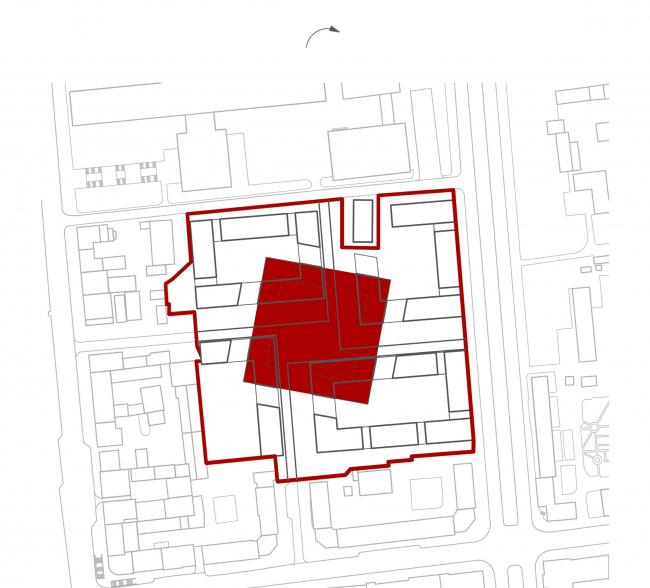 «15°». Конкурсный проект «Жилой комплекс «Красная площадь». Схема 7. Поворот центрального ядра квартала на 15° © Творческая группа «Маяк»
