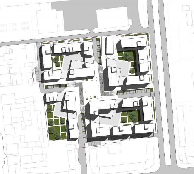 «15°». Конкурсный проект «Жилой комплекс «Красная площадь». Генплан участка © Творческая группа «Маяк»
