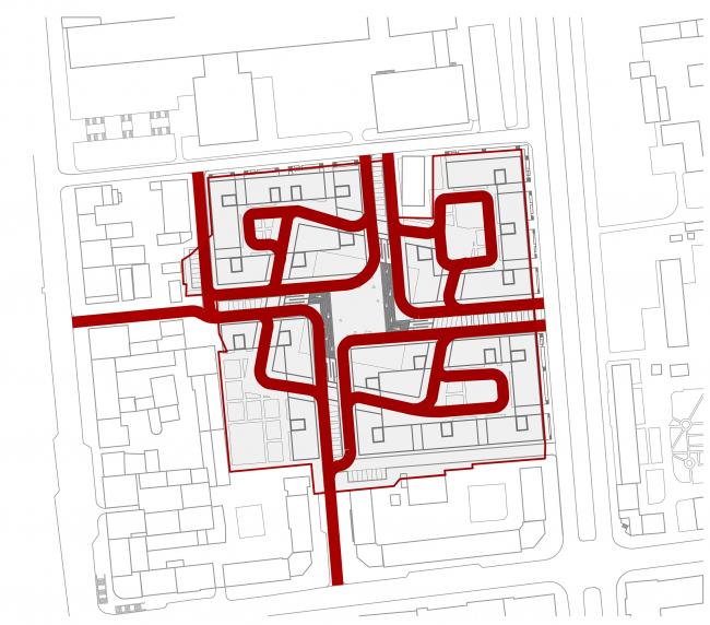 «15°». Конкурсный проект «Жилой комплекс «Красная площадь». Схема пожарных проездов © Творческая группа «Маяк»
