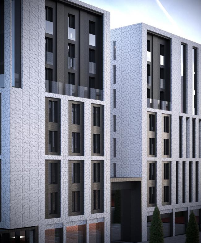«15°». Конкурсный проект «Жилой комплекс «Красная площадь». Визуализация со стороны внутриквартальной улицы © Творческая группа «Маяк»