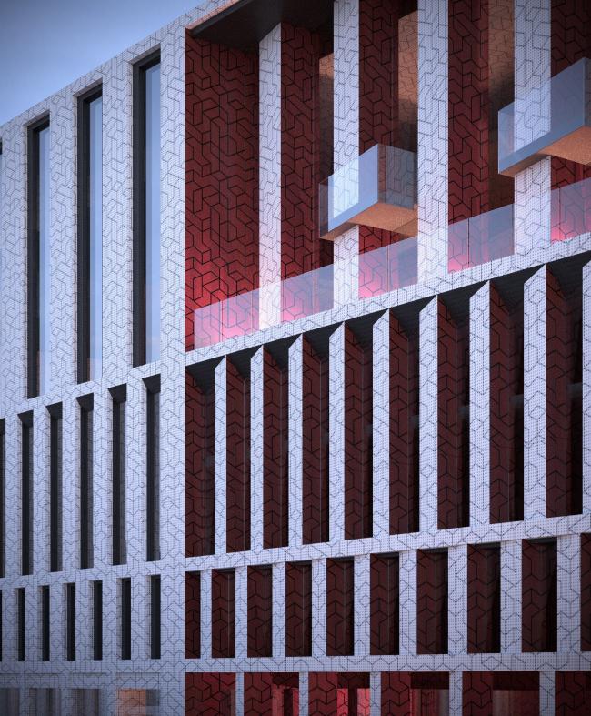 «15°». Конкурсный проект «Жилой комплекс «Красная площадь». Визуализация внутренней площади © Творческая группа «Маяк»