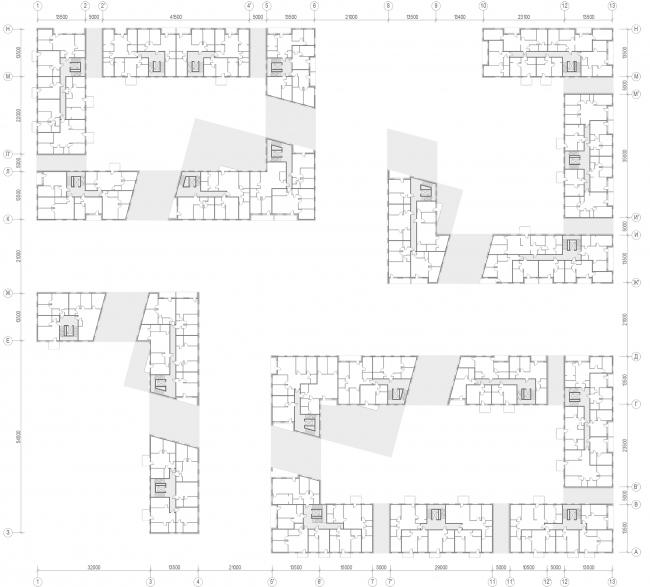 «15°». Конкурсный проект «Жилой комплекс «Красная площадь». План типового этажа © Творческая группа «Маяк»