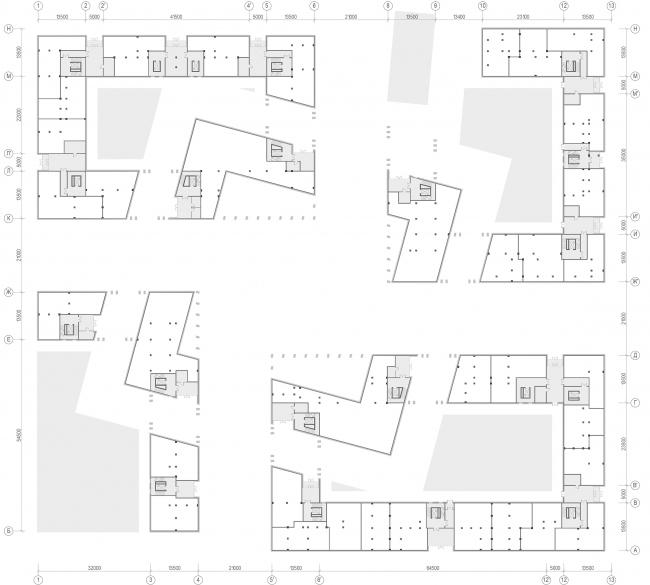 «15°». Конкурсный проект «Жилой комплекс «Красная площадь». План 1-го этажа © Творческая группа «Маяк»