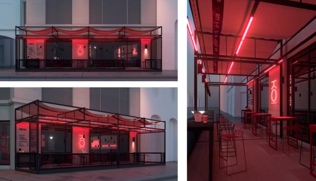 III место Archpoint Concept Awards в номинации «Концепция ресторана street food». Ресторан японской кухни KOI. Автор: Александр Панков (Санкт-Петербург)