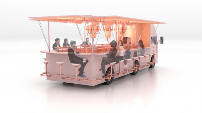 I место Archpoint Concept Awards в номинации «Концепция ресторана food truck». Кафе «-320F». Автор: Юлия Сальникова (Москва)