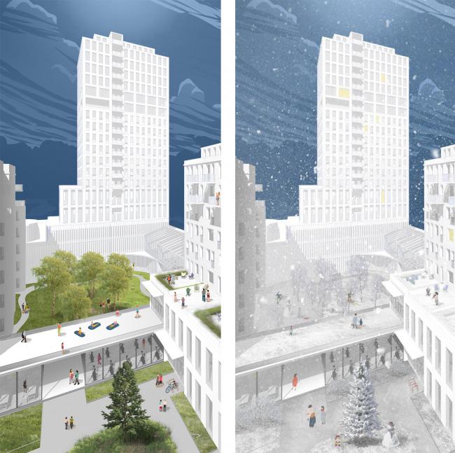 Центральная модель застройки © Archifellows («Товарищи архитекторы»)