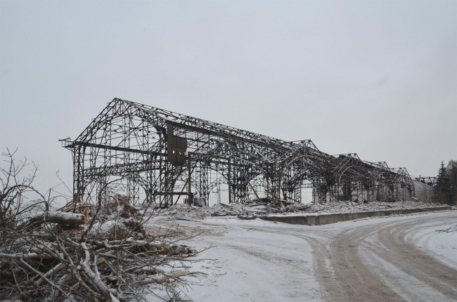 Пакгаузы на нижегородской Стрелке после демонтажа стен в декабре 2017. Фото ©  Зоя Рюрикова