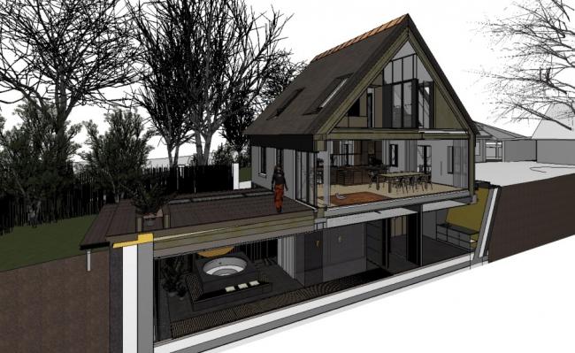 Дом в Брегнеродгарде, спроектированный BESSARDs' Studio. Модель ARCHICAD. 3D-сечение