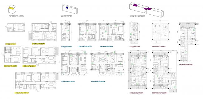 Концепция стандартного жилья для среднеэтажной модели застройки © Ad Hoc Architecture (Россия)