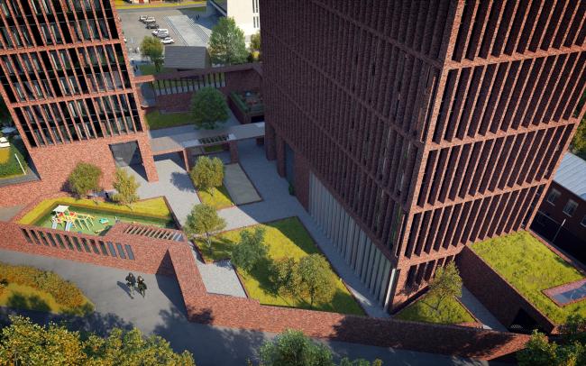 """Egodom"" housing complex. The inner yard 3D visualization © Sergey Skuratov ARCHITECTS"