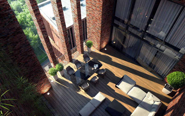 """""""Egodom"""" housing complex. The terrace of the penthouse © Sergey Skuratov ARCHITECTS"""