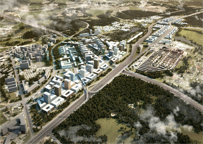 Concept of developing the territory of the administrative and business center next to Kommunarka settlement © Creative Union 'Reserve'