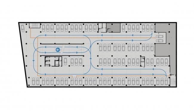Жилой комплекс «Московский силуэт». -2,-3,-4 этажи: Парковка © MVRDV