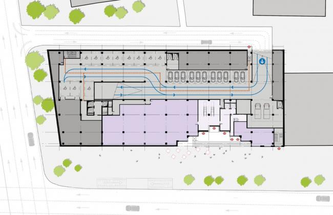 Жилой комплекс RED7. -1 этаж: технический этаж и супермаркет © MVRDV