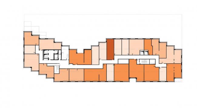 Жилой комплекс «Московский силуэт»: 7 этаж: апартаменты © MVRDV