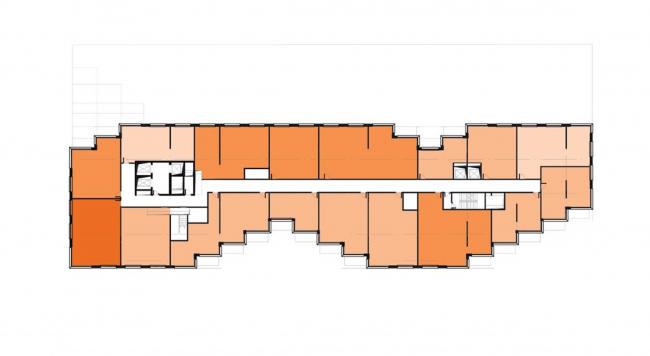 Жилой комплекс RED7. 15 этаж: апартаменты © MVRDV