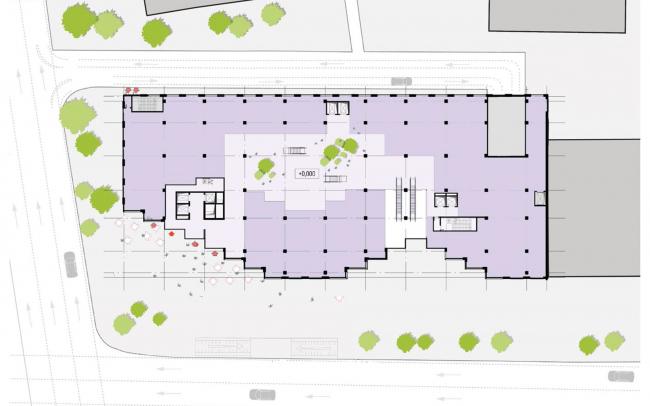 Жилой комплекс RED7. 1 этаж: коммерческие помещения © MVRDV
