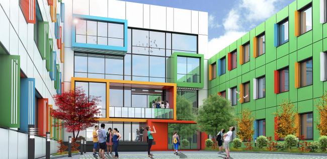 Реконструкция (пристрой) школы №165 © Казгражданпроект