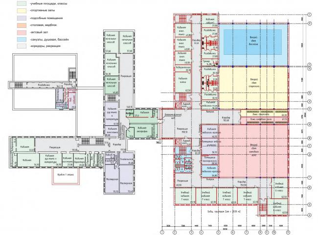 Реконструкция (пристрой) школы №165. План 2 этажа © Казгражданпроект