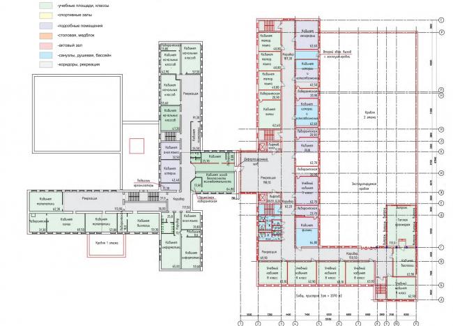 Реконструкция (пристрой) школы №165. План 3 этажа © Казгражданпроект