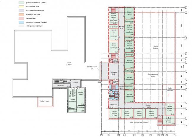 Реконструкция (пристрой) школы №165. План 4 этажа © Казгражданпроект
