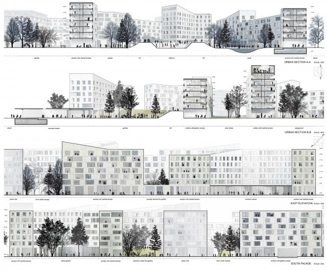 Концепция стандартного жилья для среднеэтажной модели застройки © Boustany – Suphasidh – Desfonds + A2OM
