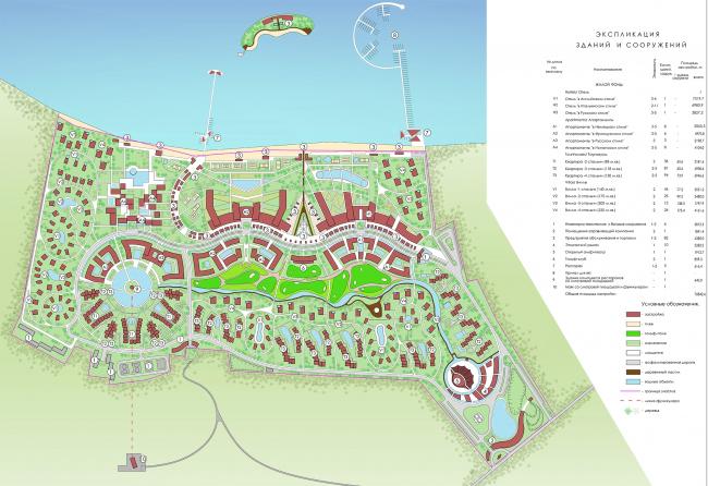 "Development of the territory of ""Paradise Waters"" resort. Master plan © Arhitekturium"