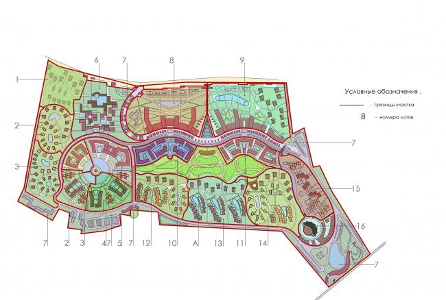 Развитие территории курорта Paradise waters. Схема деления участка на лоты © Архитектуриум