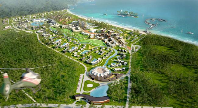 Развитие территории курорта Paradise waters. Общий вид 1 © Архитектуриум