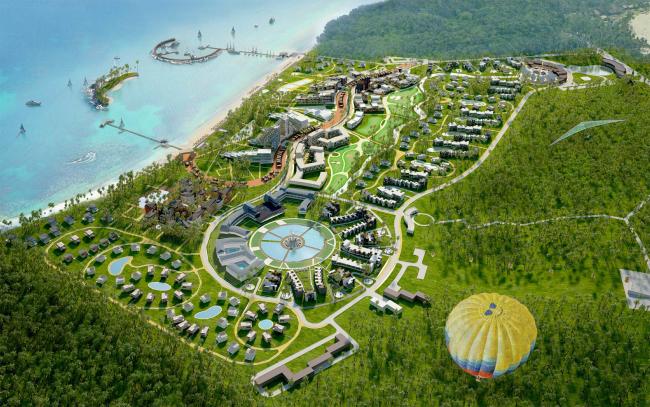 Развитие территории курорта Paradise waters. Общий вид 4 © Архитектуриум