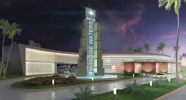 Развитие территории курорта Paradise waters. Вид въездной группы © Архитектуриум