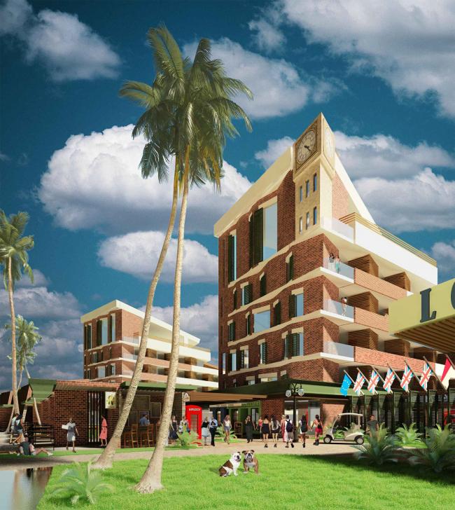 Развитие территории курорта Paradise waters. Вид на отель в «английском стиле» со стороны пешеходной улицы © Архитектуриум