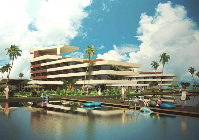 Развитие территории курорта Paradise waters. Вид на отель в «английском стиле» со стороны моря © Архитектуриум